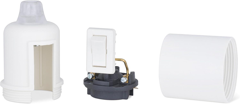 1 x Fassung mit Schalter E27 Lampenfassung aus Thermoplast creme-wei/ß Teilgewindemantel