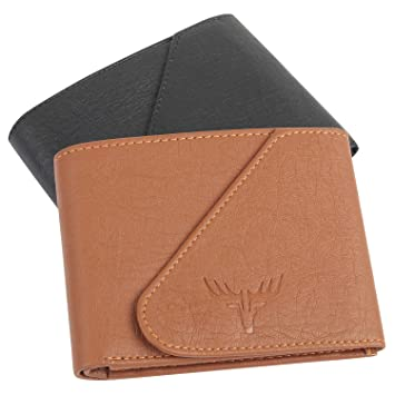 Accezory Mens Artificial Leather Combo Pack of Wallet (Tan&Black)