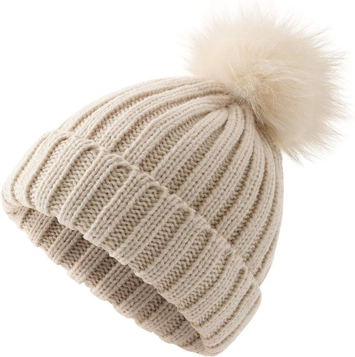 2018 Children Winter Raccoon Fur Hats 100/% Real Fox Fur Pompom Beanies Natural Fur Hat for Kids Girls Skullies