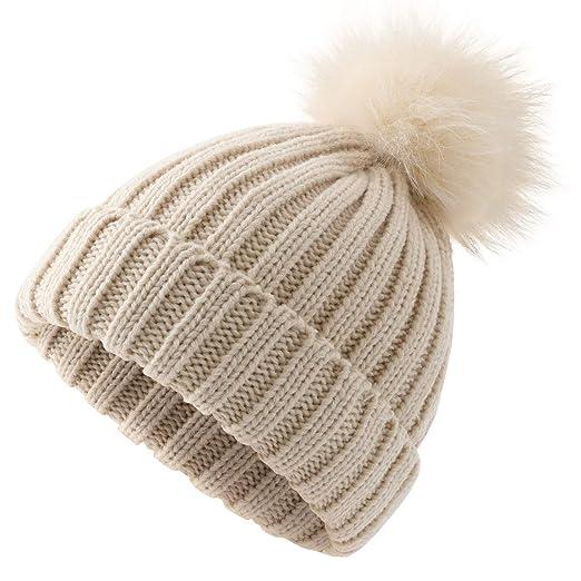 Women Winter Pompoms Beanie Hat Warm Acrylic Knit Hat with Cut Pom pom Ski Cap  for 6e85e25be83c