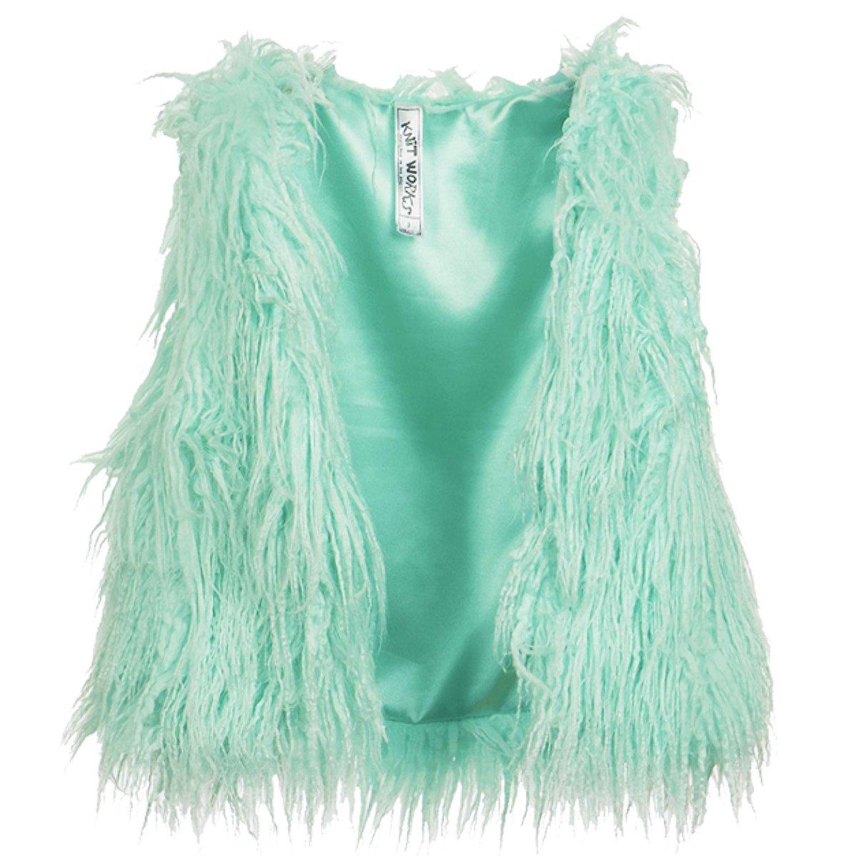 FAST TREND CLOTHING New Kids Girls Stylish Furry Eyelash Jacket Gilet Coat Age 7-11 Years Mint)