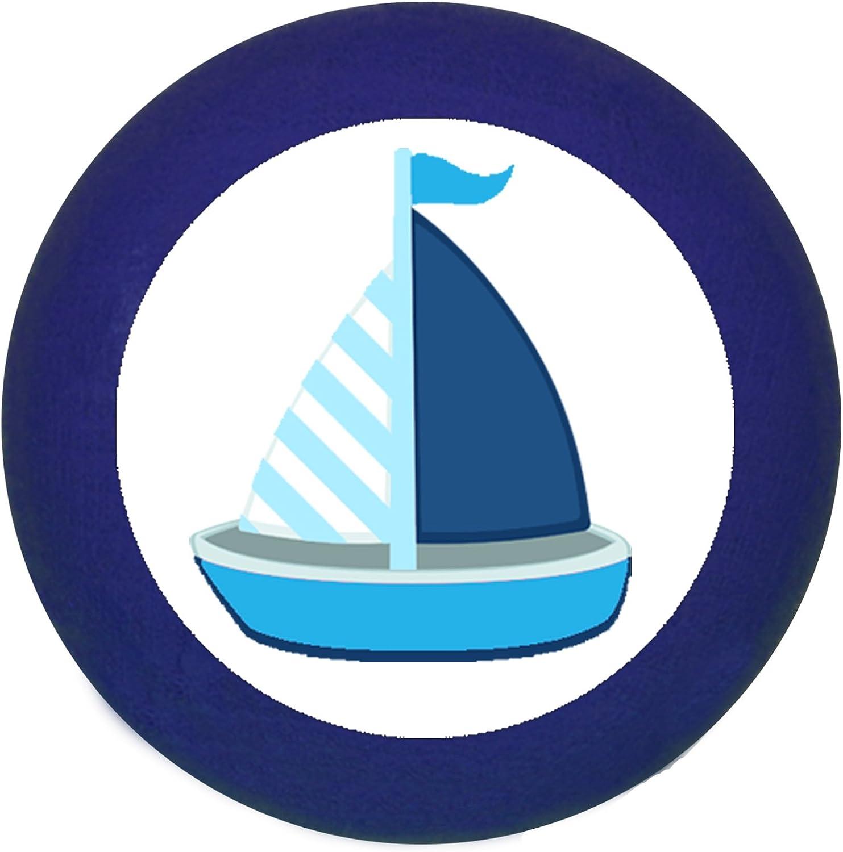 Sue/ño Ni/ño M/öbelknopf/ /Ni/ños habitaci/ón de los Ni/ños Velero Barco barco azul azul oscuro blanco rayas Maritim /Tirador de ni/ño azul claro azul oscuro azul madera maciza haya/