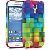 kwmobile ÉTUI EN TPU silicone pour Samsung Galaxy S4 Mini i9190 / i9195 Design cube arc en ciel multicolore vert bleu. Étui design très stylé en TPU souple de qualité supérieure