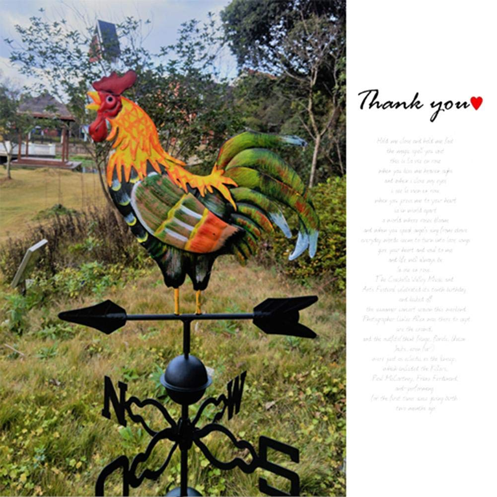 Colorful Rooster Weathervane,Traditional Iron Cock Wind Vane Metal Weather Vane with Rooster Ornament Garden Decoration