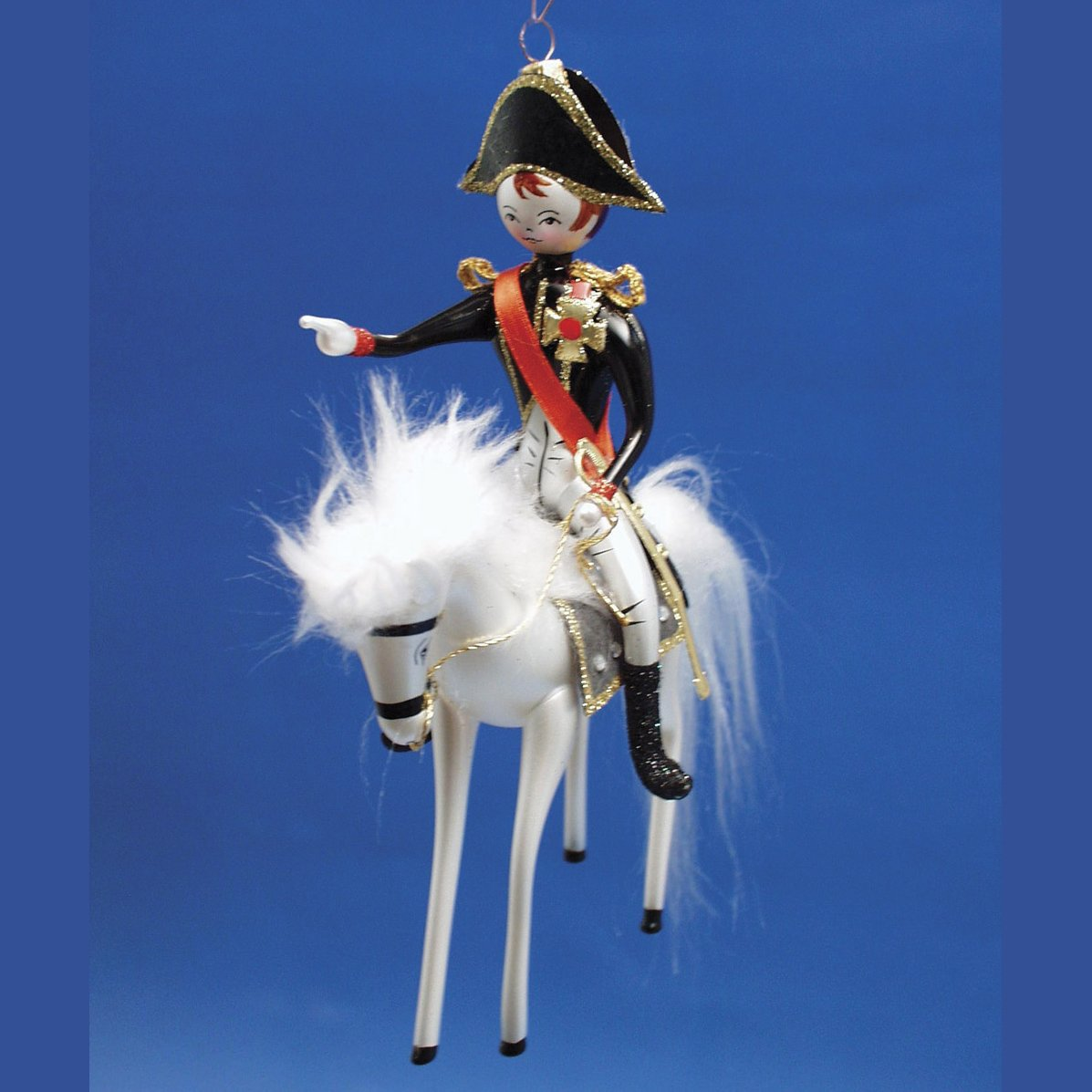 De Carlini Exclusive Napoleon on Horse Italian Glass Christmas Ornament