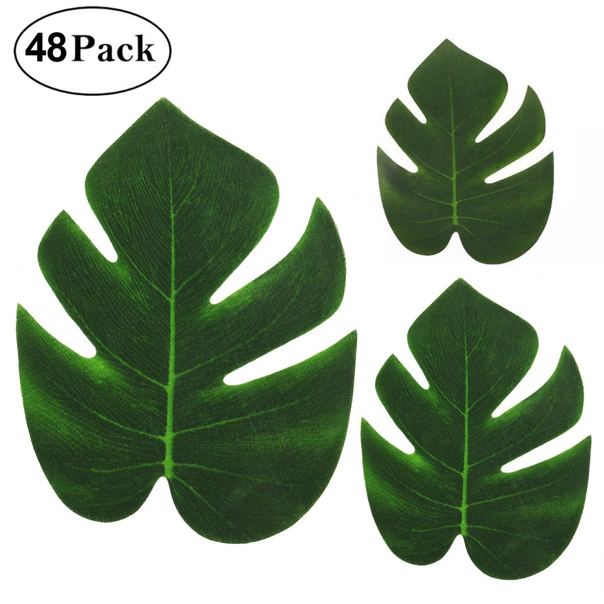 Cusfull 48Pcs Tropical Palm Leaves Plant Imitation Leaf-Waterproof Artificial Leaf Placemats-Hawaiian/Luau/Jungle Party Table Decorations by CUSFULL