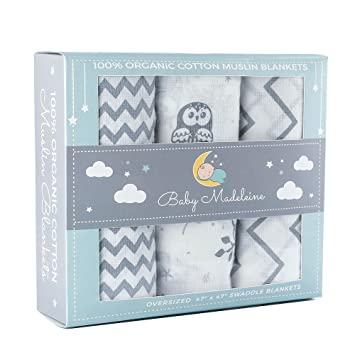 a1b75bcc50a7c Amazon.com  Premium Organic Cotton Baby Swaddle Blankets