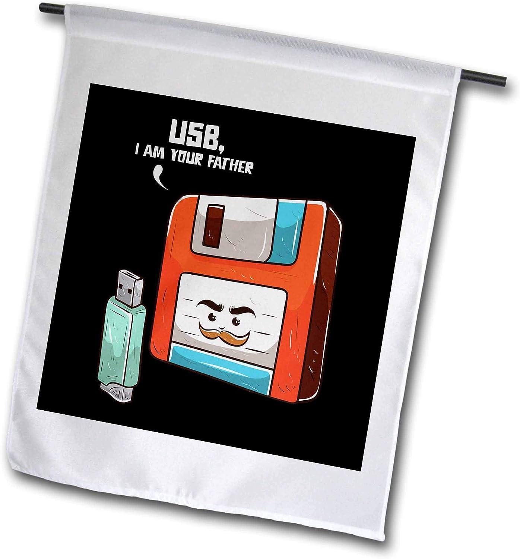 3dRose Sven Herkenrath Nerd - Retro Graphic with USB Stick and Floppy Disk Vintage Nerd - 12 x 18 inch Garden Flag (fl_308581_1)