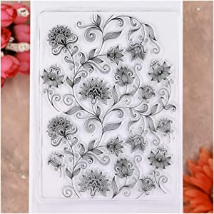 KWELLAM Flowers Leaves Background Clear Stamps for Card Making Decoration and DIY Scrapbooking