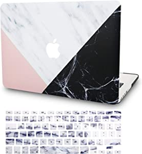 "KECC Laptop Case for MacBook Pro 13"" (2020/2019/2018/2017/2016) w/Keyboard Cover Plastic Hard Shell A2159/A1989/A1706/A1708 Touch Bar 2 in 1 Bundle (White Marble with Pink Black)"