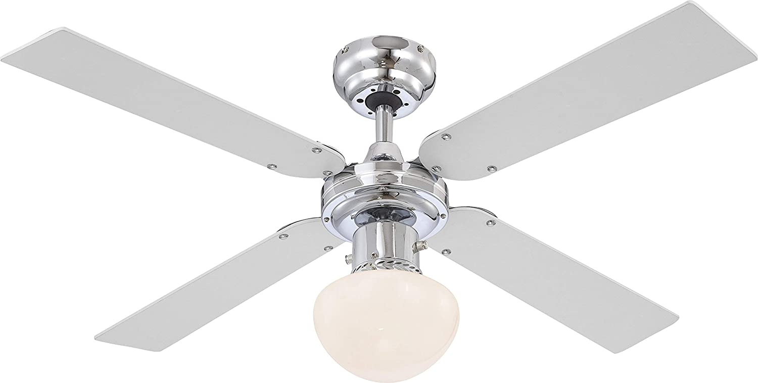 GLOBO E27 Ceiling Fan with Chrome Blades, Silver/White [Energy Class A++]