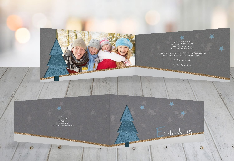 Kartenparadies Einladungskarte zu Weihnachten Foto Einladung Farbbäumchen, hochwertige Weihnachtseinladung zum Selbstgestalten (Format  215x105 mm) Farbe  DunkelGrasGrün B01N9R6DOR | Kostengünstig  | Schön  | Vorzügliche Verarbeitung