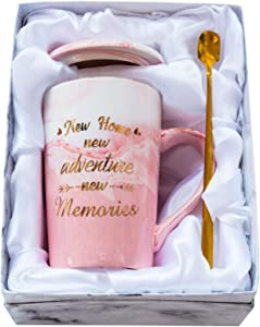 Mugpie Housewarming Gifts For New Home Owner - New House Coffee Mug Gifts for Women Friends Mom Dad Daughter Son Coworkers -Sweet Wedding Christmas Gifts for New Home New Adventure New Memories Pink