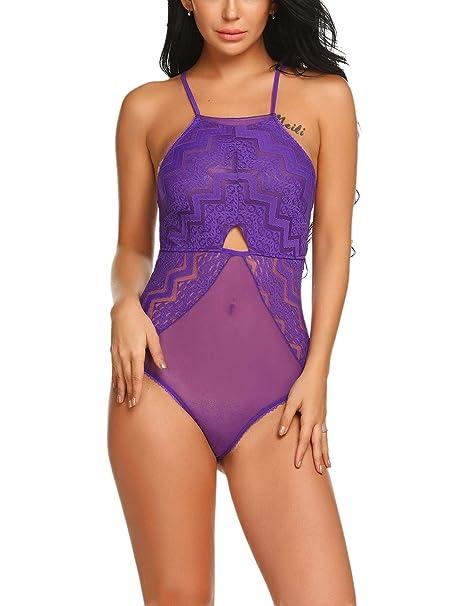 eff7d47933 ADOME Damen Sexy Body Dessous Reizwäsche Bodysuit Spitze Strappy  Unterwäsche Negligee Rückenfrei Lingerie
