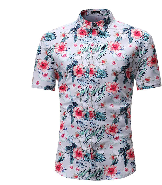 Mxyoz Men Shirt Summer Style Palm Tree Print Beach Hawaiian Shirt Men Casual Short Sleeve Hawaii Shirt Asian Size 3XL