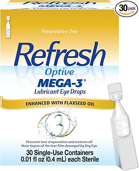Refresh Optive Mega-3 Lubricant Eye Drops, Preservative-Free, 0.01 Fl Oz Single-Use Containers, 30 Count