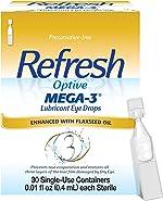 Refresh Optive Mega-3 Lubricant Eye Drops For Dry Eyes, Preservative-Free, 0.01
