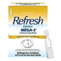 Refresh Optive Mega-3 Lubricant Eye Drops, 30 Single-Use Containers, 0.01 Fl Oz,...