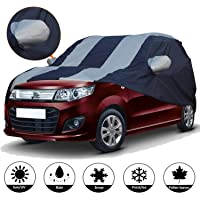 AllExtreme W7005 Car Body Cover for Maruti Suzuki Wagon R Custom Fit Dust UV Heat Resistant for Indoor Outdoor SUV Protection (Blue-Silver with Mirror)