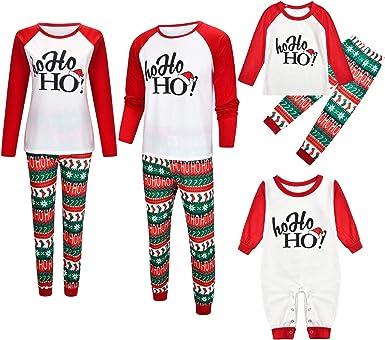 YIKEYO Pijamas Navideños para Toda la Familia Iguales - Pijama de Navidad Familiar Pareja a Juego para Hombre Mujer Niño Niña - HO HO HO