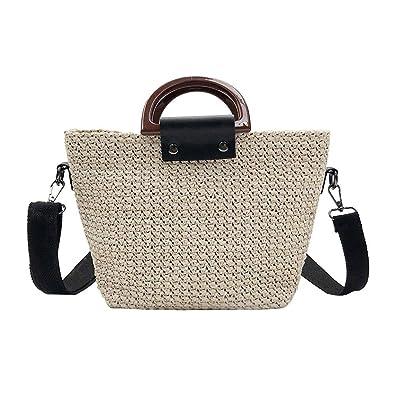 Everpert Sommer Frauen Stroh Tasche Schulter Handtaschen Strand