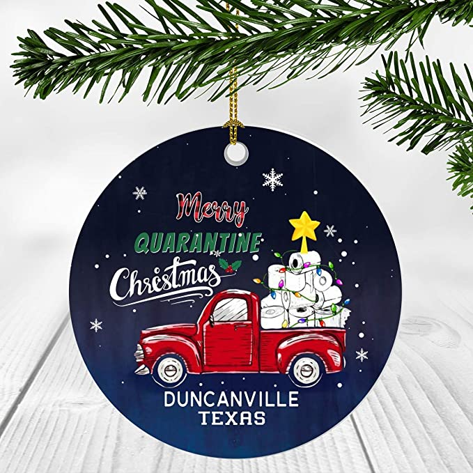 2021 Duncanville Christmas Eve Service Amazon Com Red Truck Christmas Tree Ornaments Decorations 2020 Merry Quarantine Christmas 2020 Ornament Duncanville City Texas State Tx Social Distancing Gifts Funny Kitchen Dining