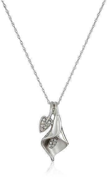 d02b3143a 10K White Gold Calla Lily Diamond Pendant Necklace (1/10 cttw, I-J Color