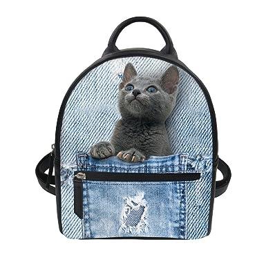 d564a54d1f4 HUGS IDEA Stylish Pet Cat Lightweight Shoulder Backpack Mini Knapsack PU  Leather Waterproof Ipad Bag for