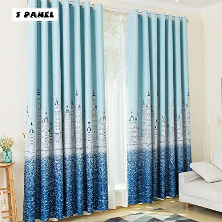 Beautiful KINLO 1 Panel 145 X 245 Cm Eyelet Blackout Curtains Sky Blue Sea Castle  Thermal