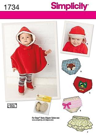Amazon.com: Simplicity Andrea Schewe Pattern 1734 Babies Poncho ...