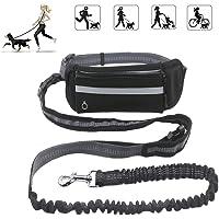KeepGoo Correa para perros manos libres con riñonera, 1.6M correa para perros con cintura de bolsas múltiples para la cintura paraSenderismo Correr - Ideal para perros medianos a grandes (NEGRO)