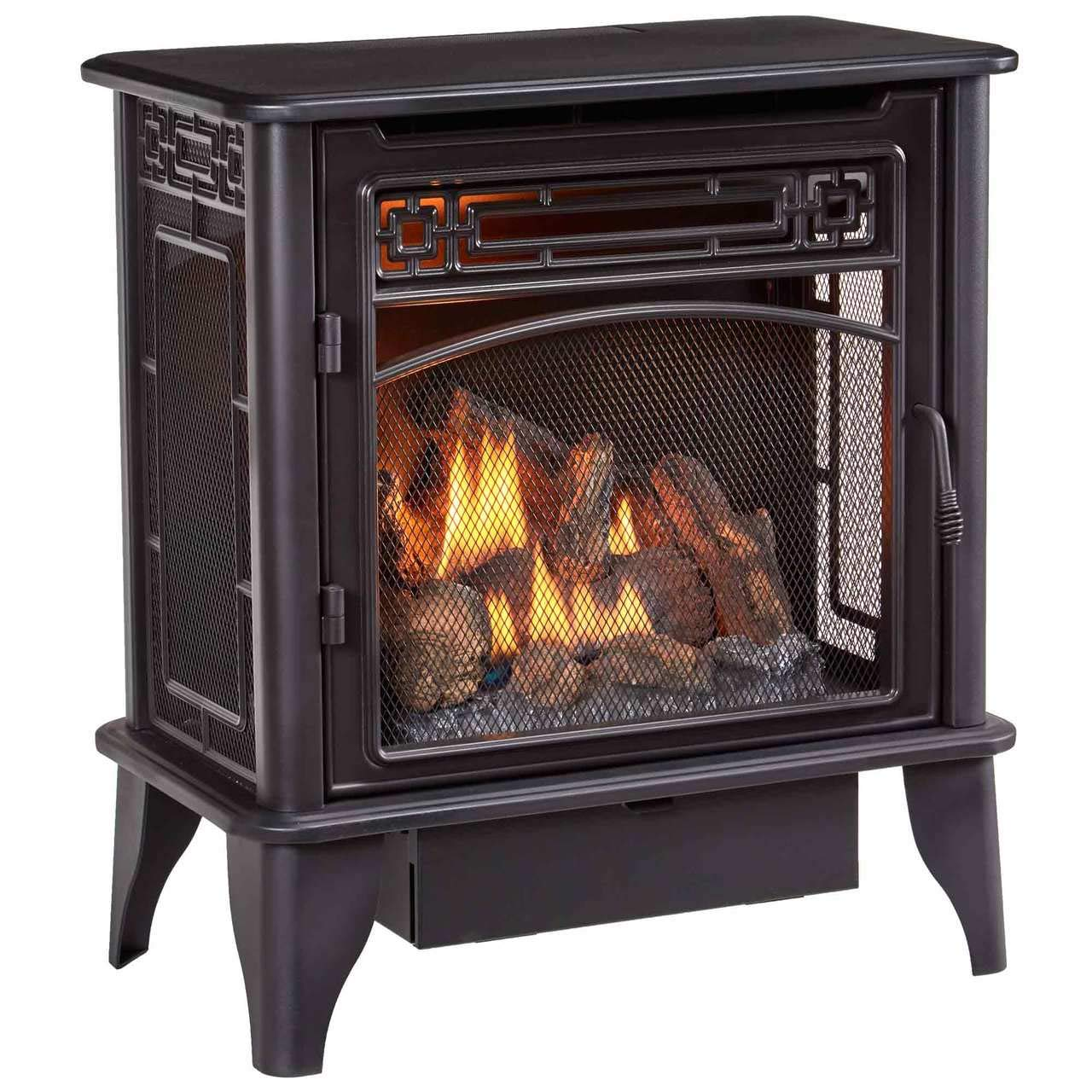 ProCom PCNSD25RTA Gas Stove 3-Sided Black Dual Fuel with Remote Control, 23,000 BTU, Vent-Free by ProCom