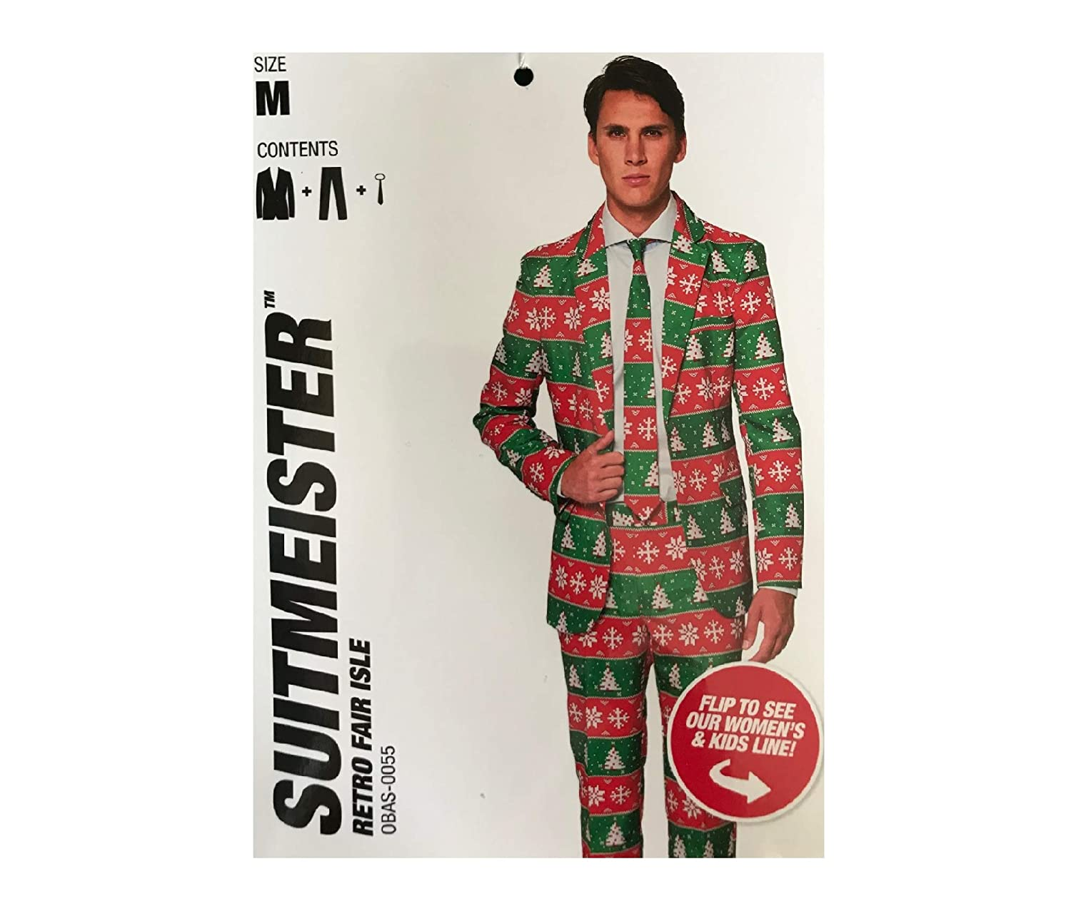 ebce7403e0d0f Suitmeister Men's Ugly Holiday Suit - Red/Green (Size: M, 38-40) at Amazon  Men's Clothing store: