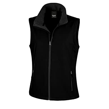 Result Core Womens Ladies Printable Softshell Bodywarmer (XS) (Black    Black) 37c076b380