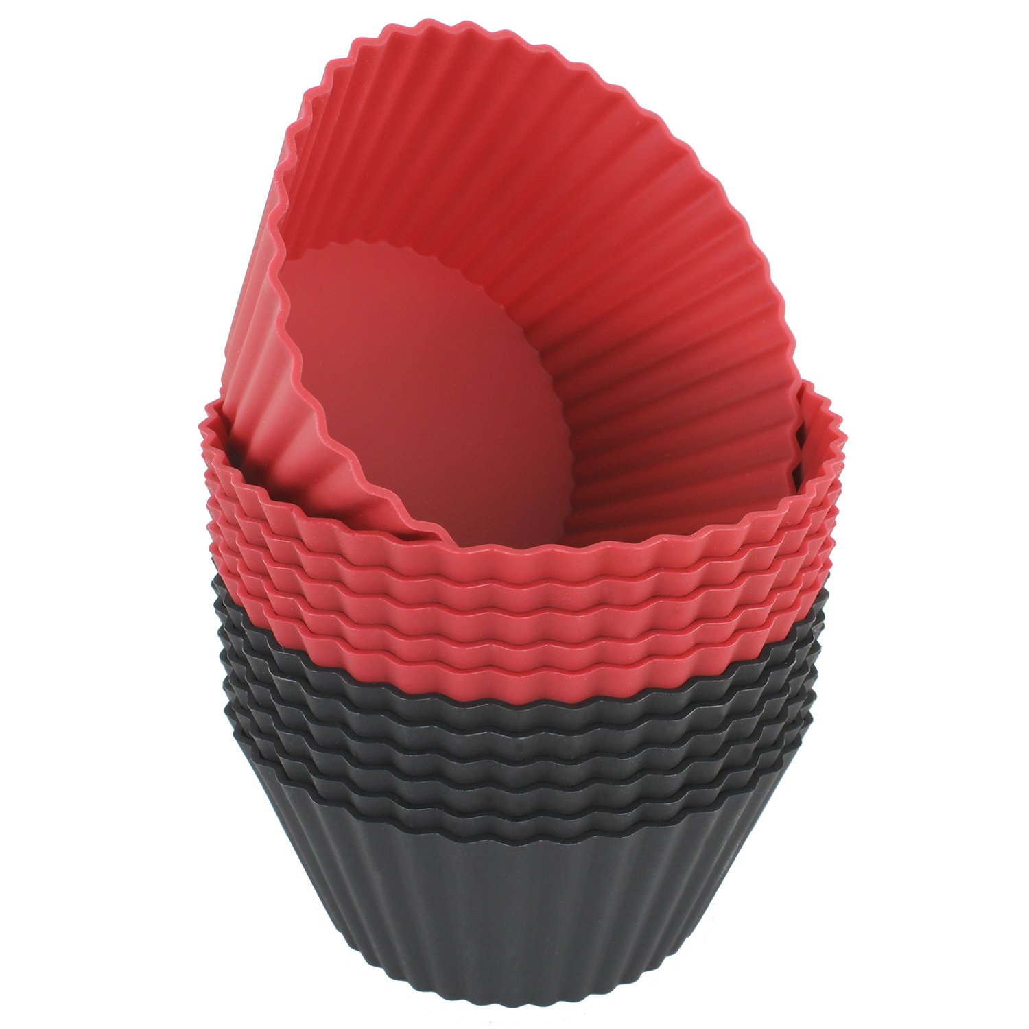 Freshware CB-320RB 12-Pack Silicone Jumbo Round Reusable Cupcake and Muffin Baking Cup, Black and Red Colors