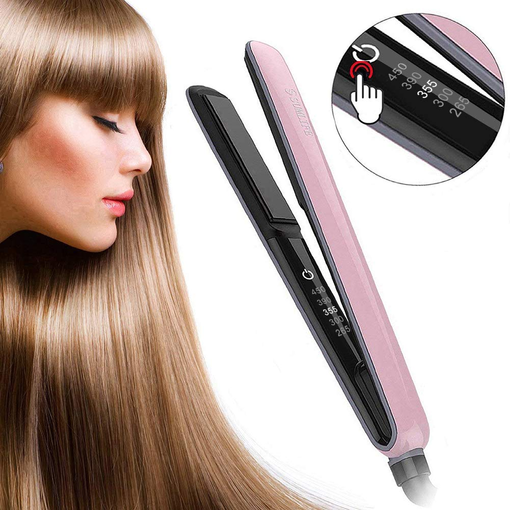 Hair Straightener,Sumlife Flat Iron Straightener and Curling 2 in 1 with Infrared Dual Voltage Digital Adjustable Temp for Sleek,Curl,Short, Long Hair Pink