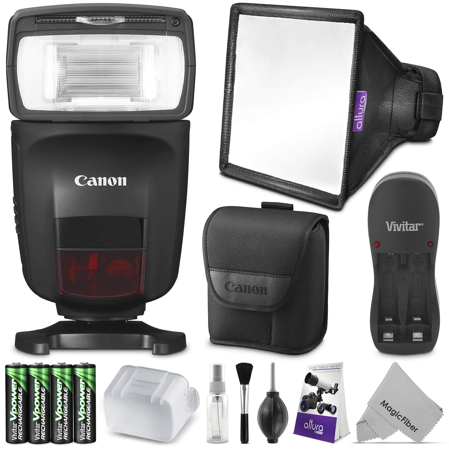 Canon Speedlite 470EX-AI w/Essential Photo Bundle - Includes: Altura Photo Softbox Flash Diffuser, AA Rechargeable Batteries w/Charger