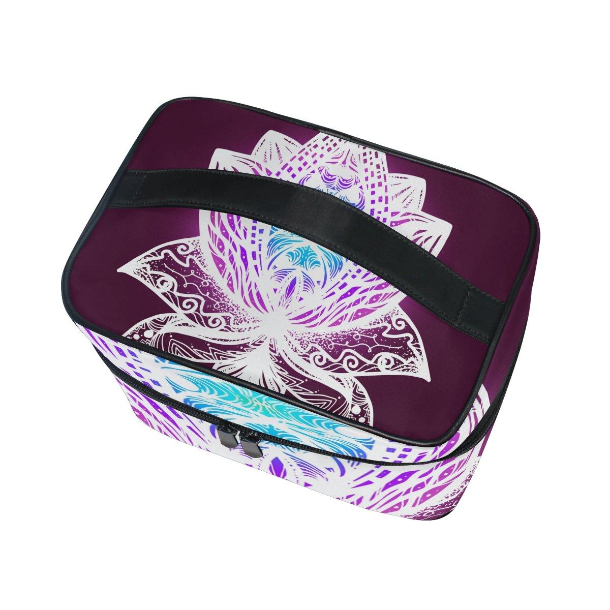 Tizorax lumineux Fleur Lotus Grande trousse cosm/étique de voyage Organiseur de maquillage Coque support pour femme Filles