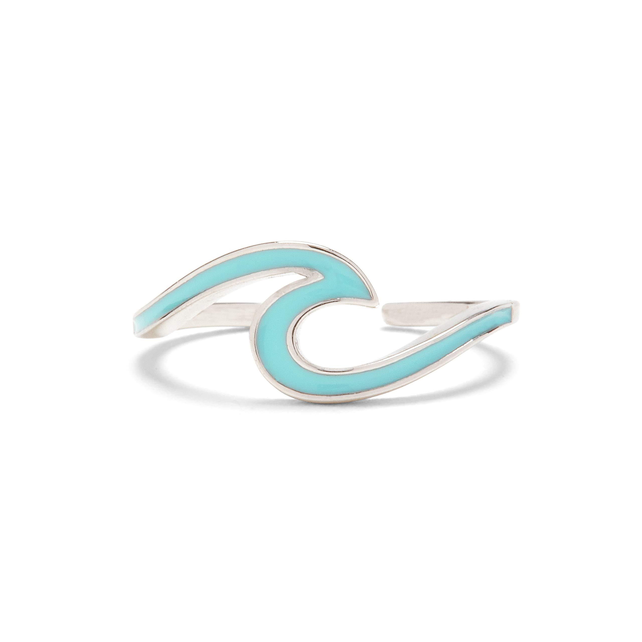 Pura Vida Silver Enamel Wave Toe Ring - Brass Base Adjustable End - One Size