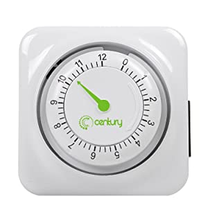 Century 12 Hour Mechanical Countdown Timer with Grounded Pin - Energy Saving