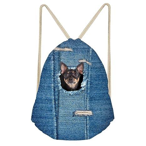 03c4240c8d3 Amazon.com   HUGS IDEA Cute Dog Pattern Drawstring Backpack Lightweight  Cinch Sack Gym Pack for Women Men Kids Outdoor Sport Yaga Dance Shopping ...