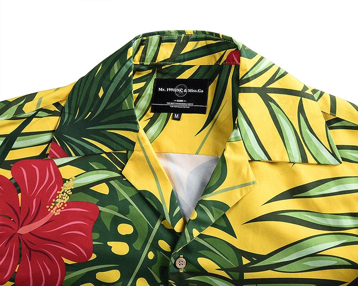 SANHION Mens Tropical Beach Floral Print Men/'s Hawaiian Button Down Short Sleeve Shirt