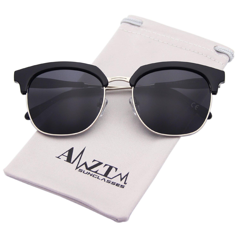 AMZTM Klassisch Retro Halbrand Verspiegelt Polarisierte Sonnenbrille Damen Herren Platz Dunkelbraun Linsen E8RDm66M