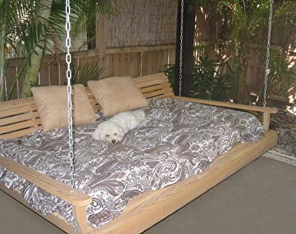 Cypress Porch SWING BED 6 Ft With Heavy Duty 10ft Galvanized CHAIN Set And Made From