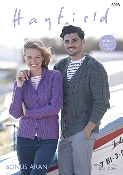 a790a3f566db Sirdar 8098 Knitting Pattern Womens Mens V Neck and Shawl Collar Cardigans  in Hayfield Bonus Aran  Amazon.co.uk  Kitchen   Home