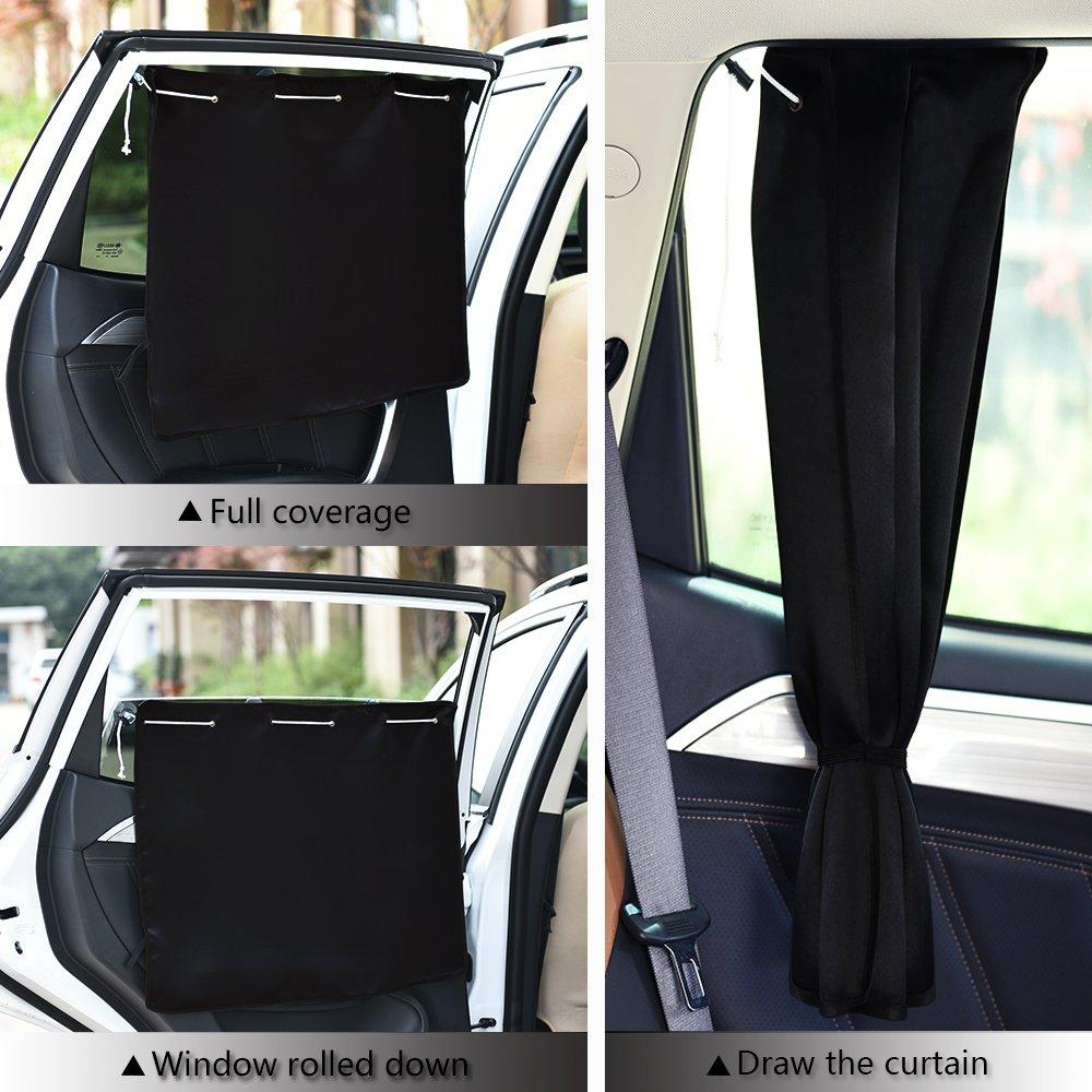 PONY DANCE Sonnenschutz Auto Fenster Vorhang 2 St/ücke H 52 x B 70 cm Schwarz UV Schutz /& Sonnenschutz Kinder Baby Auto Gardinen Verdunkelungsvorh/änge W/ärmeisolierend