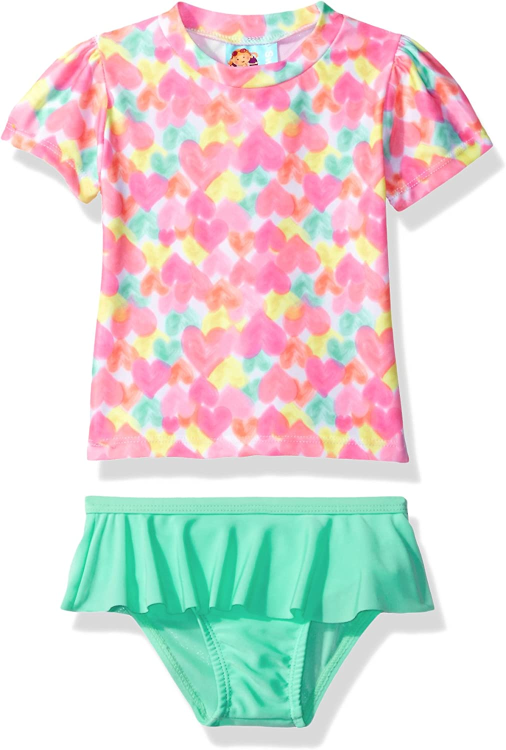 Baby Buns Girls Heart Print Swim Set Rashguard
