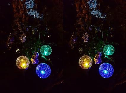 8 x Gartenleuchte Glaskugel Solarleuchte Kugelleuchte LED Bruchglas Farbwechsel