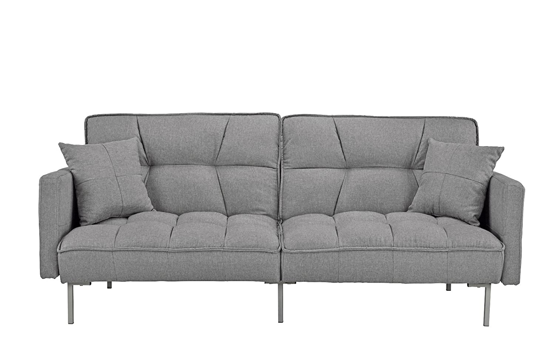 Divano Roma Furniture Collection - Modern Plush Tufted Linen Fabric Splitback Living Room Sleeper Futon (Light Grey)