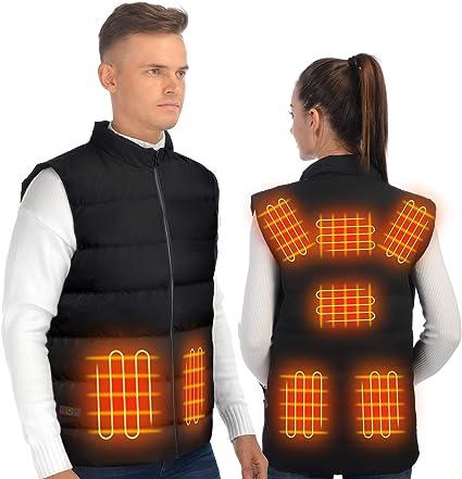 Veste chauffante rechargeable avec batterie SHAALEK Gilet chauffant pour homme et femme